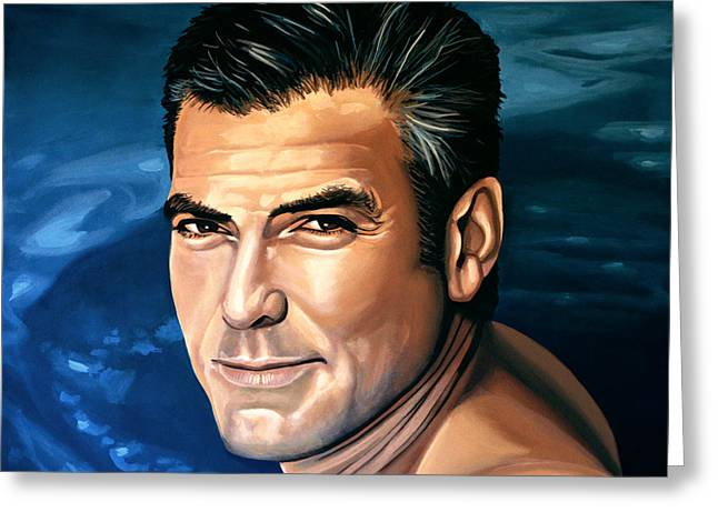 Batman Greeting Cards - George Clooney 2 Greeting Card by Paul  Meijering