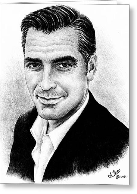 Movie Star Drawings Greeting Cards - George Clooney Greeting Card by Andrew Read