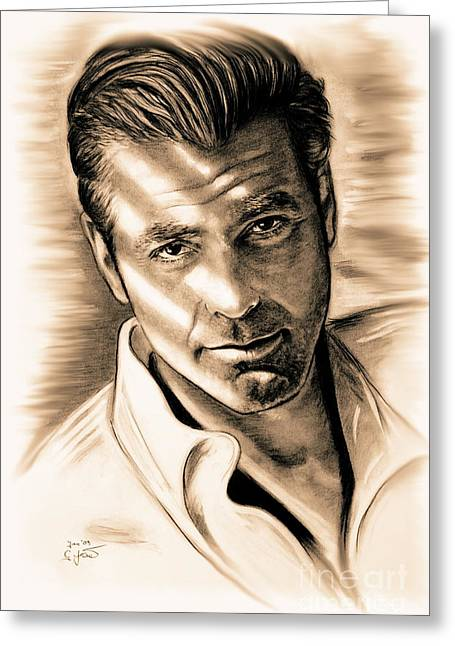 Clooney Greeting Cards - George Clooney Greeting Card by Gitta Glaeser