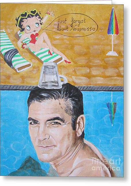Clooney Greeting Cards - George Clooney Greeting Card by Jeepee Aero