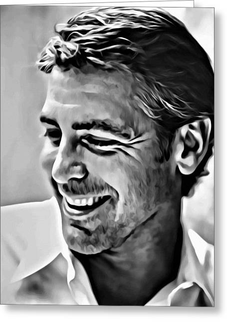 Clooney Greeting Cards - George Clooney Portrait Greeting Card by Florian Rodarte