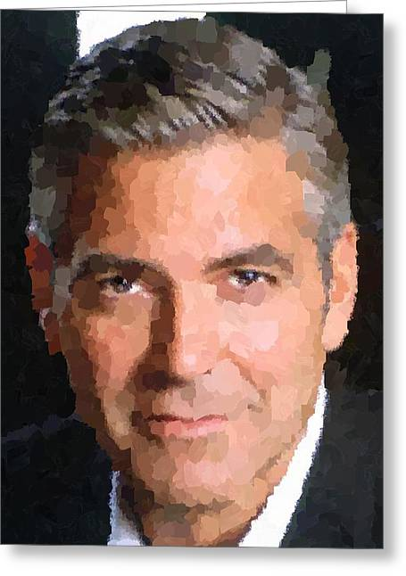 Clooney Greeting Cards - George Clooney Portrait Greeting Card by Samuel Majcen