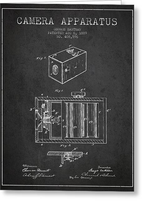 Famous Photographers Greeting Cards - George Eastman Camera Apparatus patent from 1889 - Dark Greeting Card by Aged Pixel