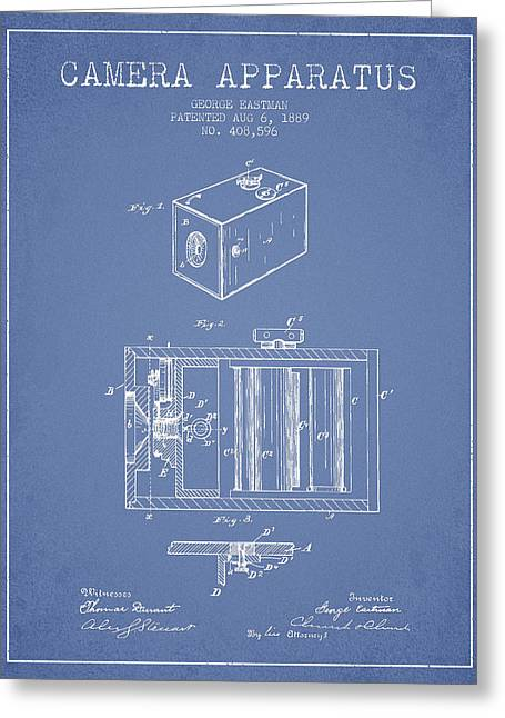 Camera Greeting Cards - George Eastman Camera Apparatus patent from 1889 - Light Blue Greeting Card by Aged Pixel