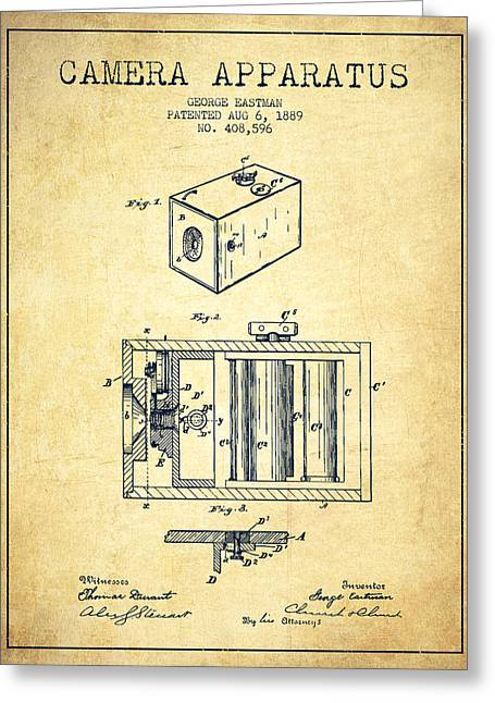 Famous Photographers Digital Art Greeting Cards - George Eastman Camera Apparatus patent from 1889 - Vintage Greeting Card by Aged Pixel