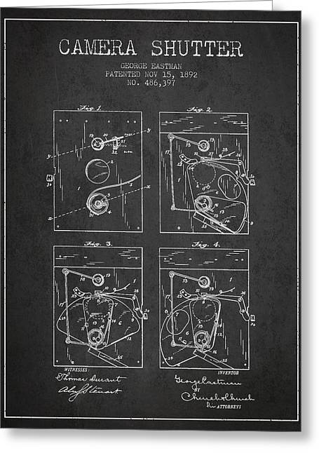 Famous Photographers Digital Art Greeting Cards - George Eastman Camera Shutter Patent from 1892 - Dark Greeting Card by Aged Pixel