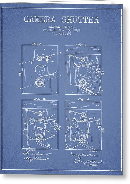 Famous Photographers Digital Art Greeting Cards - George Eastman Camera Shutter Patent from 1892 - Light Blue Greeting Card by Aged Pixel