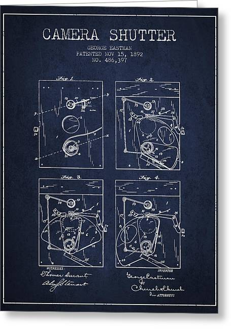 Famous Photographers Greeting Cards - George Eastman Camera Shutter Patent from 1892 - Navy Blue Greeting Card by Aged Pixel