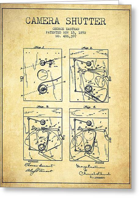 Famous Photographers Greeting Cards - George Eastman Camera Shutter Patent from 1892 - Vintage Greeting Card by Aged Pixel