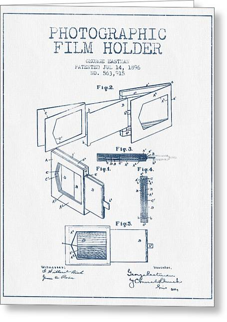 Famous Photographers Greeting Cards - George Eastman Film Holder Patent from 1896 - Blue Ink Greeting Card by Aged Pixel