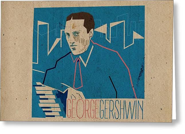Gershwin Greeting Cards - George Gershwin Greeting Card by Giorgi Akhuashvili