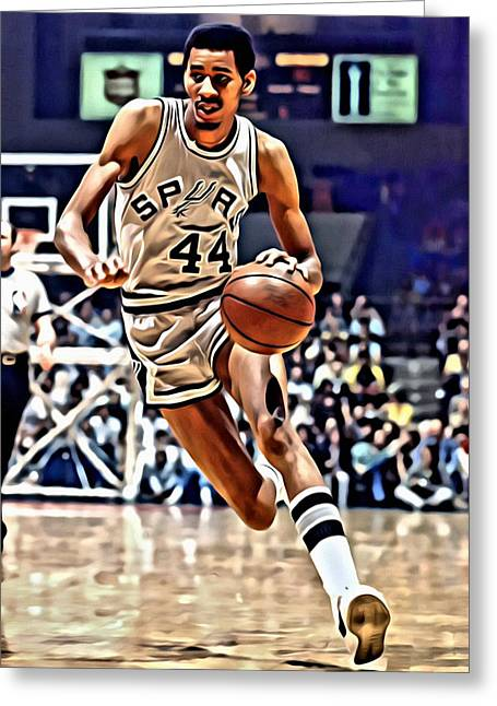 Best Sellers -  - Slamdunk Greeting Cards - George Gervin Greeting Card by Florian Rodarte