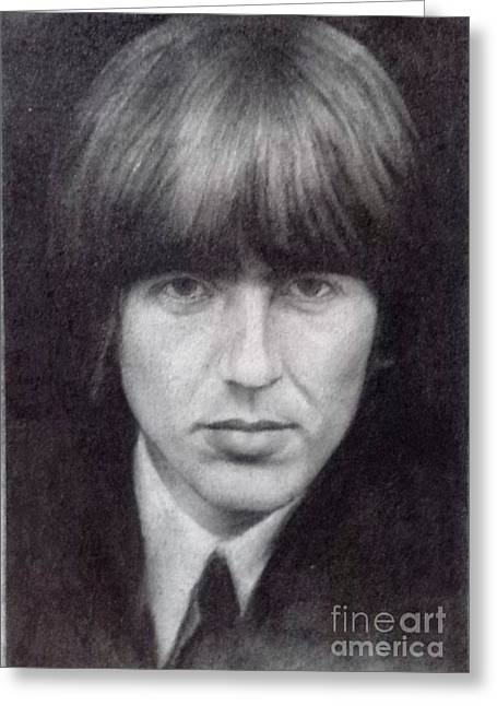 Cavern Drawings Greeting Cards - George Harrison - The Beatles Greeting Card by Richard John Holden