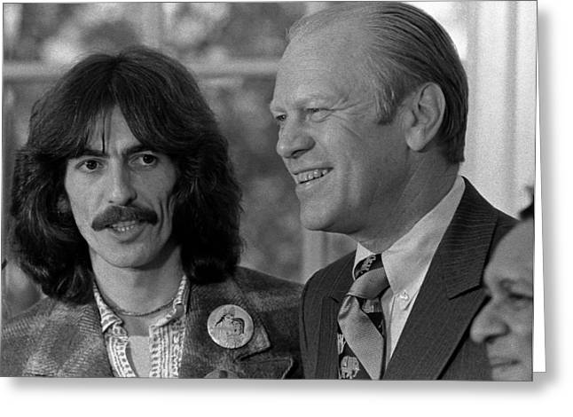 Gerald Ford Greeting Cards - George Harrison and Gerald Ford Greeting Card by Nomad Art And  Design