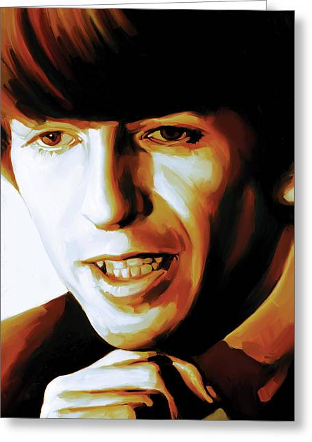 Beatles Canvas Greeting Cards - George Harrison Artwork Greeting Card by Sheraz A