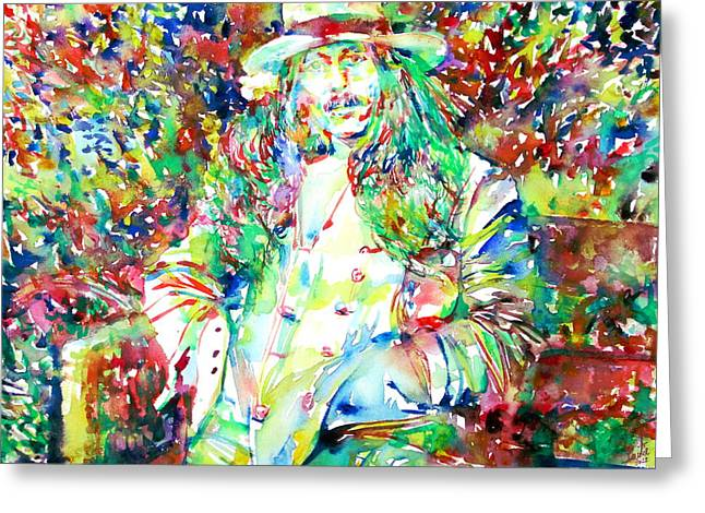George Harrison Images Greeting Cards - GEORGE HARRISON in the GARDEN PORTRAIT Greeting Card by Fabrizio Cassetta