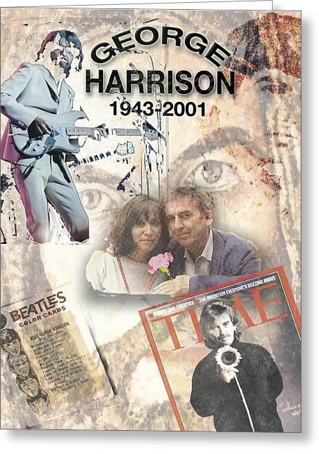 George Harrison Images Greeting Cards - George Harrison Memorial Collage Greeting Card by Melinda Saminski