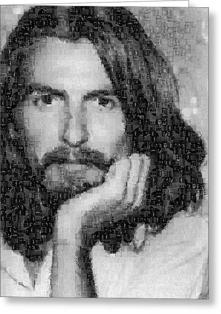 Sgt Pepper Photographs Greeting Cards - George Harrison Mosaic Image 3 Greeting Card by Steve Kearns