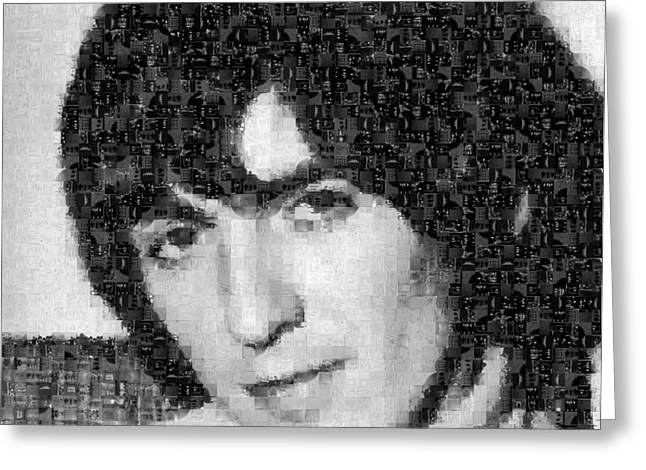 Sgt Pepper Photographs Greeting Cards - George Harrison Mosaic Image 5 Greeting Card by Steve Kearns