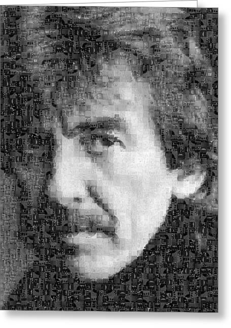 Sgt Pepper Photographs Greeting Cards - George Harrison Mosaic Image 6 Greeting Card by Steve Kearns