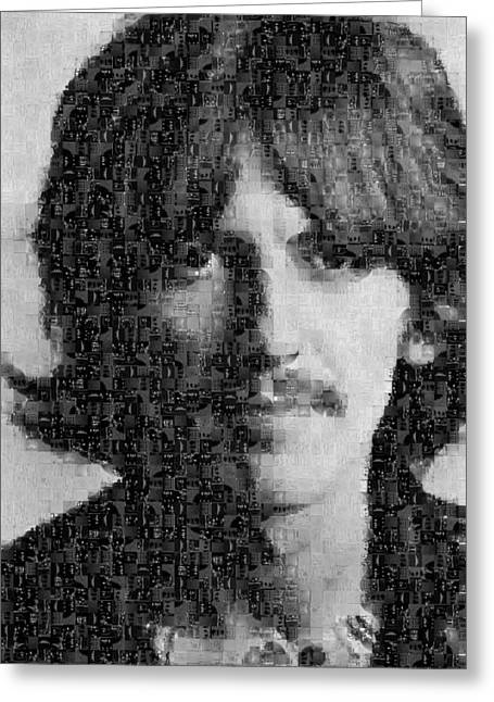 Sgt Pepper Photographs Greeting Cards - George Harrison Mosaic Image 7 Greeting Card by Steve Kearns