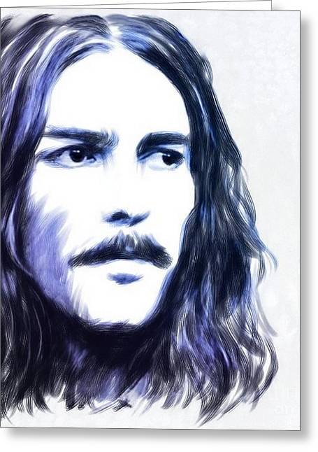 Fab Greeting Cards - George Harrison Portrait Greeting Card by Wu Wei