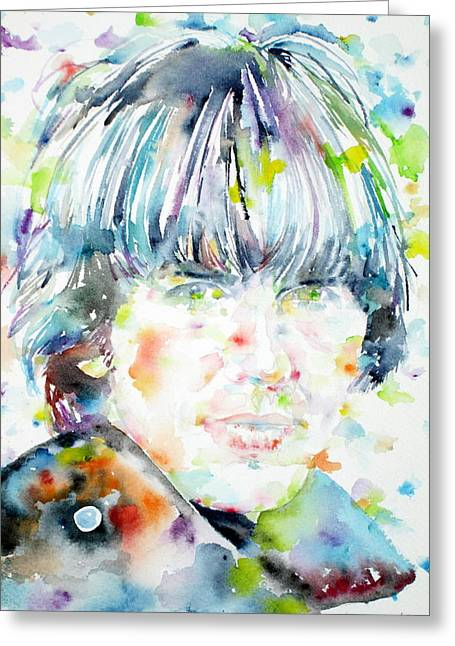 George Harrison Images Greeting Cards - George Harrison Portrait.1 Greeting Card by Fabrizio Cassetta