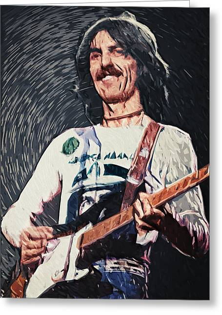 The Les Paul Guitar Greeting Cards - George Harrison Greeting Card by Taylan Soyturk