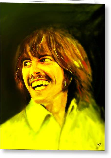 John Lennon Collectible Greeting Cards - George Harrison - The Beatles Greeting Card by Marcello Cicchini
