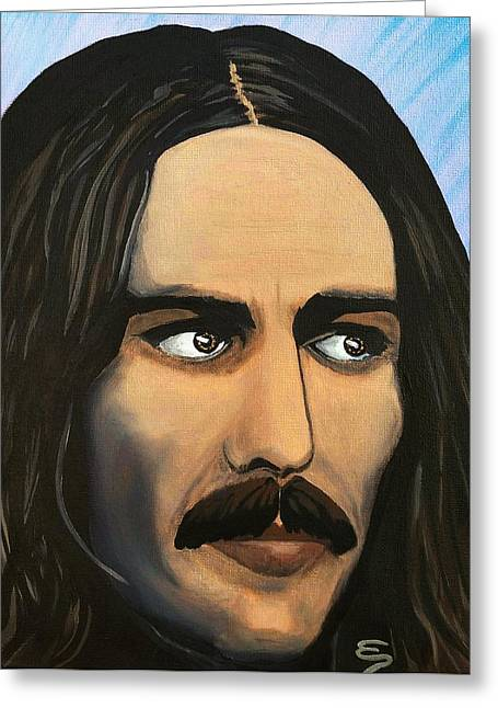 Famous Person Mixed Media Greeting Cards - George Harrison The Mystic Greeting Card by Edward Pebworth