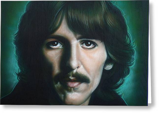 The Beatles. Celebrity Portraits Greeting Cards - George Harrison Greeting Card by Tim  Scoggins