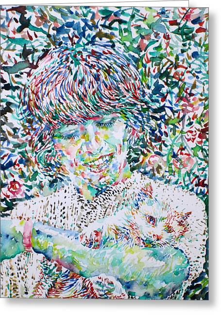 George Harrison Images Greeting Cards - GEORGE HARRISON with CAT Greeting Card by Fabrizio Cassetta