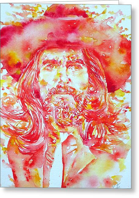 George Harrison Images Greeting Cards - GEORGE HARRISON with HAT Greeting Card by Fabrizio Cassetta