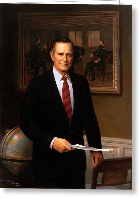 United States Presidents Greeting Cards - George HW Bush Presidential Portrait Greeting Card by War Is Hell Store