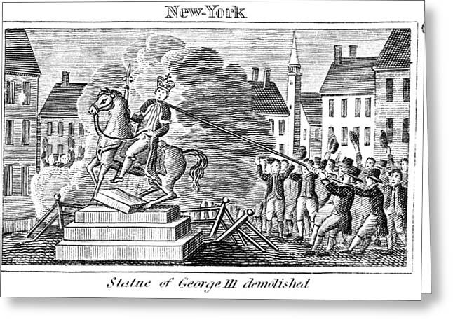 Protesters Greeting Cards - George Iii Statue, 1776 Greeting Card by Granger