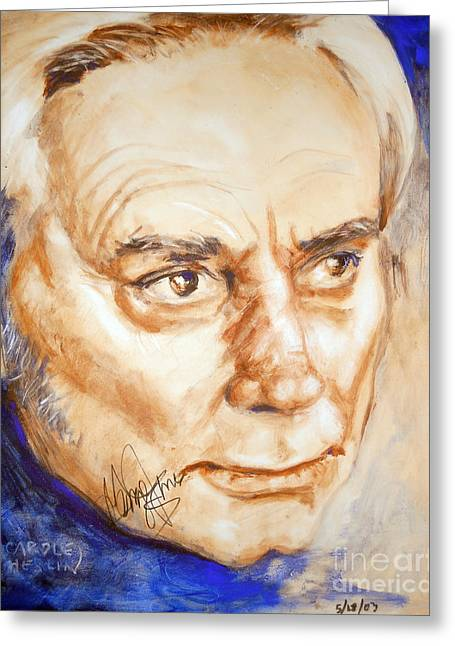 Autographed Paintings Greeting Cards - George Jones Greeting Card by Carole Diane Heslin
