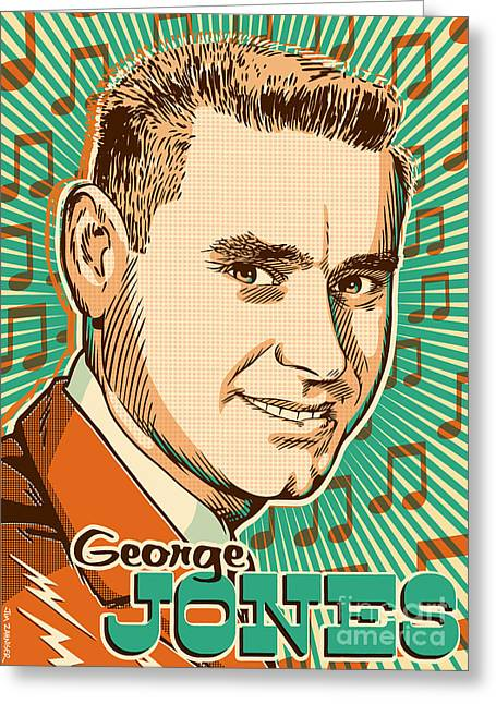 George Jones Pop Art Greeting Card by Jim Zahniser