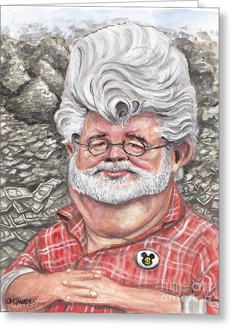 Cartoon Greeting Cards - George Lucas Greeting Card by Mark Tavares