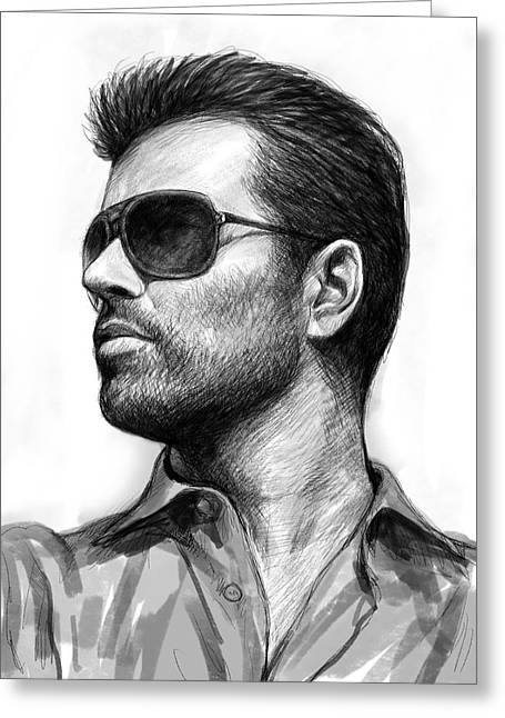 Michael Drawing Drawings Greeting Cards - George Michael art drawing sketch portrait Greeting Card by Kim Wang