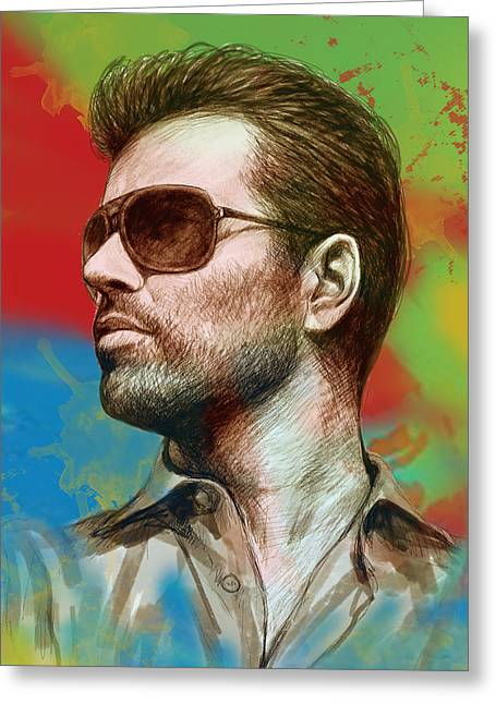 Andrew Michael Greeting Cards - George Michael stylised pop morden art drawing sketch portrait Greeting Card by Kim Wang