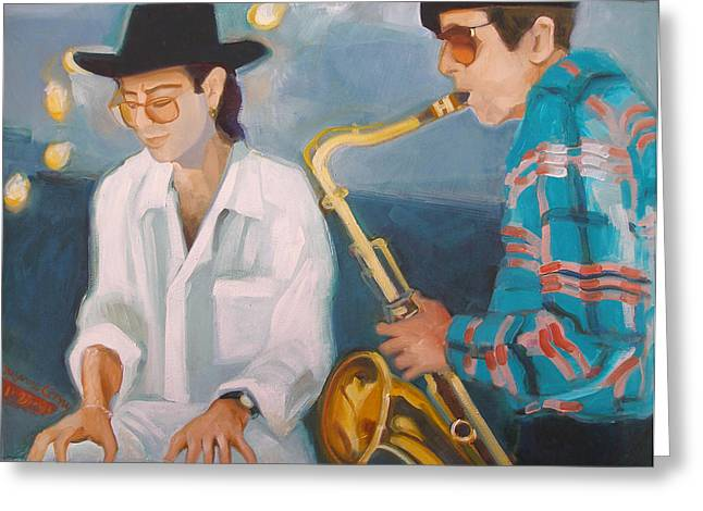 Vince Paintings Greeting Cards - George Michalski and Vince Wallace Greeting Card by Suzanne Giuriati-Cerny