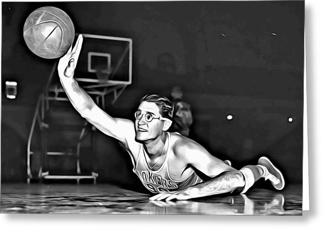 Dunk Greeting Cards - George Mikan Greeting Card by Florian Rodarte