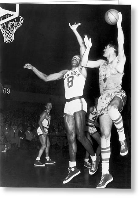 Famous Basketball Players Greeting Cards - George Mikan Hook Shot Greeting Card by Underwood Archives