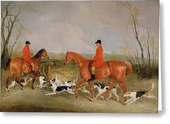Fox Hunting Greeting Cards - George Mountford, Huntsman To The Quorn, And W. Derry, Whipper-in, At John Ogaunts Gorse, Nr Melton Greeting Card by Richard Barrett Davis