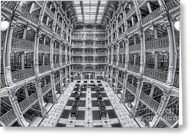 Stacks Of Books Greeting Cards - George Peabody Library II Greeting Card by Clarence Holmes