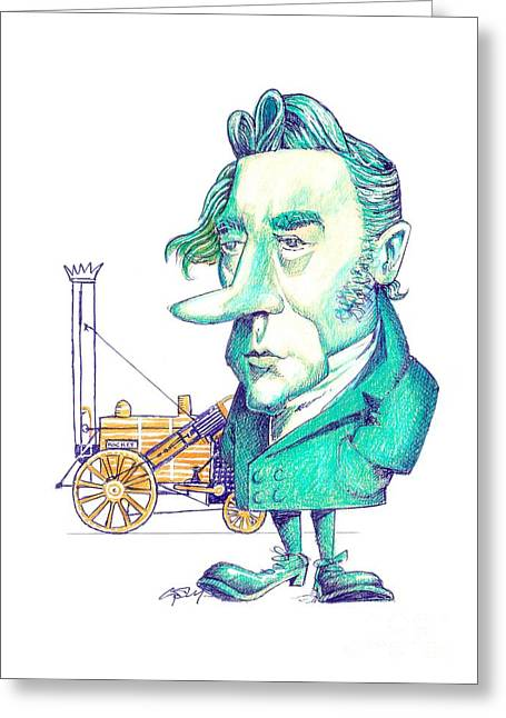 George Stephenson, British Engineer Greeting Card by Gary Brown