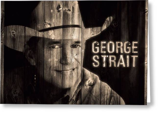 Award Mixed Media Greeting Cards - George Strait Barn Door Greeting Card by Dan Sproul