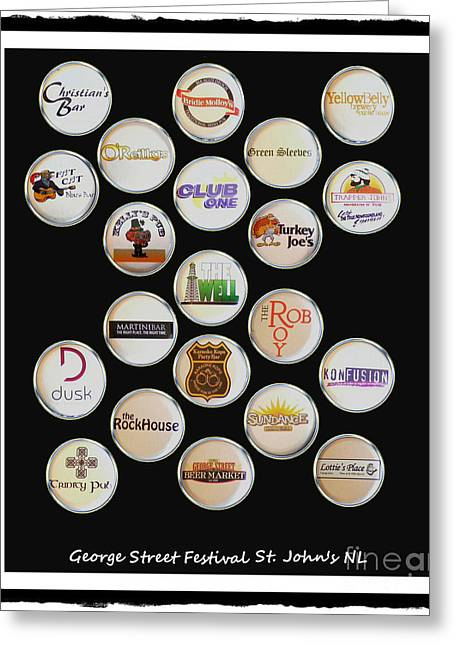 Long Street Mixed Media Greeting Cards - George Street Festival Bottle Caps Collage Greeting Card by Barbara Griffin
