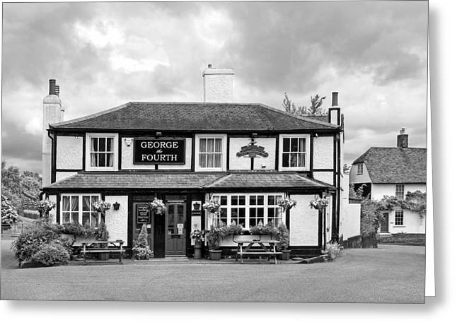 Old Inns Greeting Cards - George The Fourth Pub in Black and White Greeting Card by Gill Billington