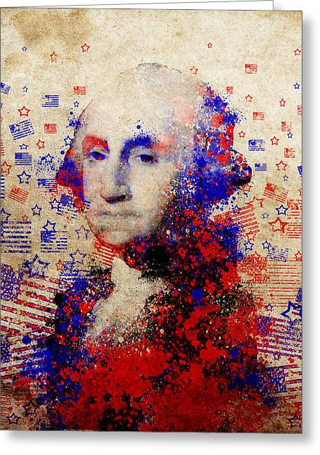 Patriot Art Prints Greeting Cards - George Washington 3 Greeting Card by MB Art factory